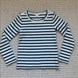 JCrew Girls' long-sleeve ribbed T-shirt in stripe.